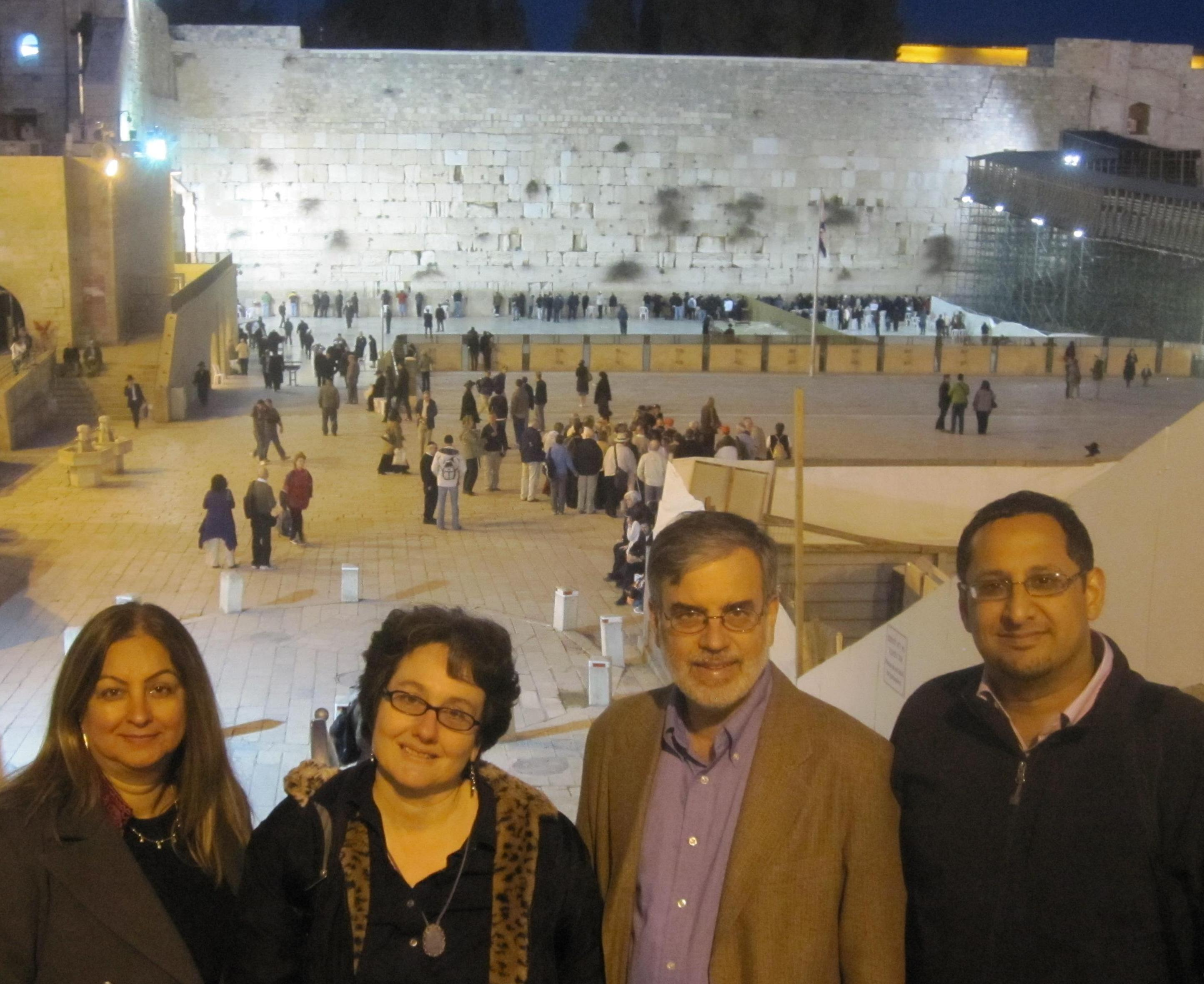 Nargis Virani, Naomi Seidman, Arthur Holder, Munir Jiwa at the Western Wall in Jerusalem