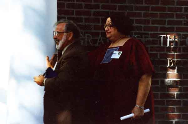 Sharon-Gay Smith and Claude Welch at the rededication of 2465 Le Conte