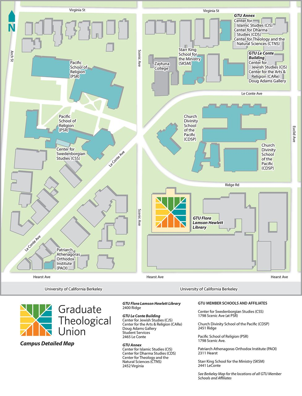 cal lutheran campus map Maps Detailed Campus Map Graduate Theological Union cal lutheran campus map