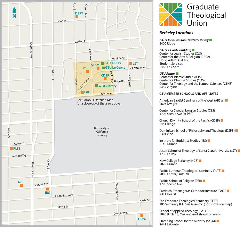Berkeley Academic Calendar.Maps Berkeley Overview Map Graduate Theological Union