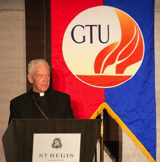 Bishop Emeritus John S. Cummins delivering an invocation at the GTU's 50th Anniversary Gala.