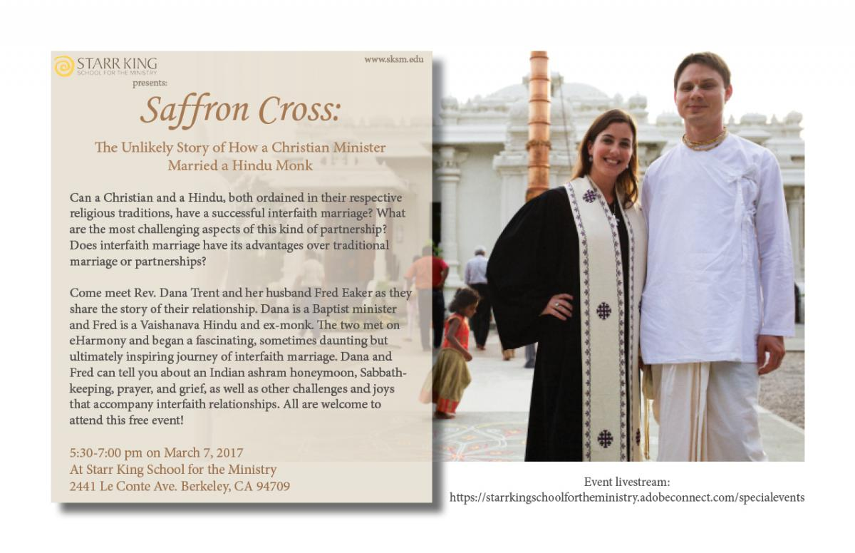 Flyer for Saffron Cross event photo of Rev. Dana Trent and Fred Eaker